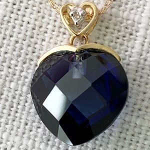 Jewelry - 10k Gold Faceted Sapphire Diamond heart Necklace.